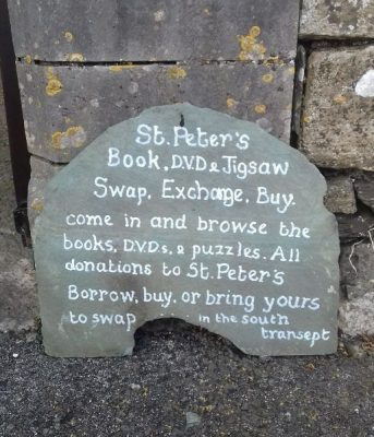 Swap Books DVDs and Jigsaws Slate Sign